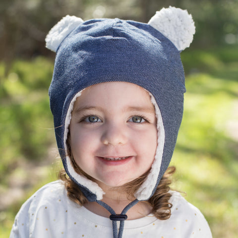 Bedhead Hat Denim Teddy Fleece Winter Beanie with Chin Strap - Sizes 0-3 Months, 3-6 months, 6-12 Months & 1-3 Years
