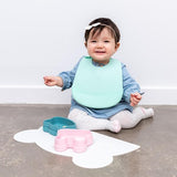 We Might be Tiny Catchie Bibs - Mint Green and Light Grey