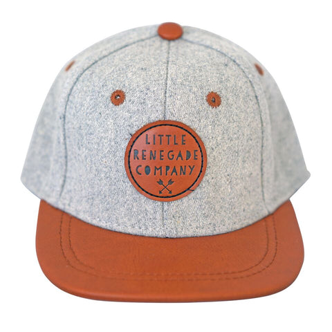 Little Renegade Company Grey Felt & Tan Snapback Cap (Suitable from 4 months old)