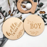"One.Chew.Three Wooden ""It's a Boy"" Plaque - Foliage Design"