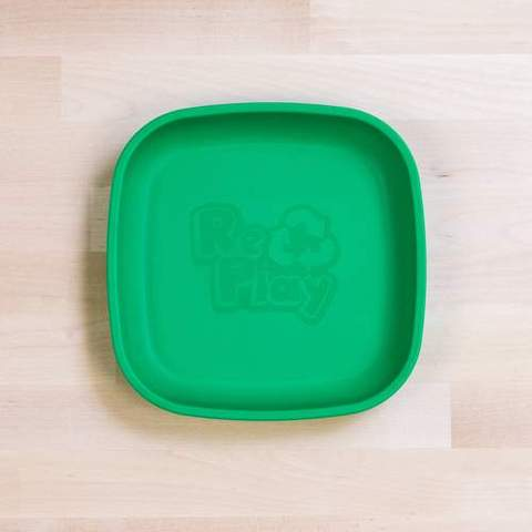 Re-Play Recycled Plastic Flat Plate in Kelly Green (Dark Green) - 18cm (Original Size)