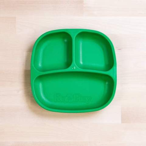 Re-Play Recycled Plastic Divided Plate in Kelly Green (Dark Green) - 18cm (Original Size)