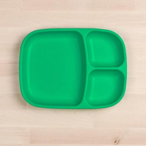 Re-Play Recycled Plastic Divided Plate in Kelly Green (Dark Green) - 25cm (Adult Size)