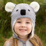 Bedhead Hat Koala Grey Marle Fleece Winter Beanie with Chin Strap