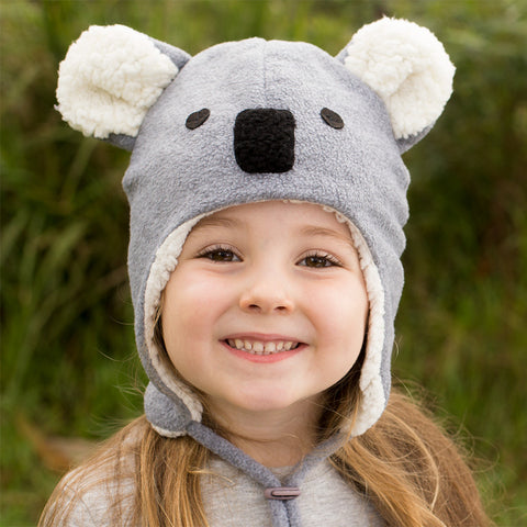 Bedhead Hat Koala Grey Marle Fleece Winter Beanie with Chin Strap - Size 0-3 Months