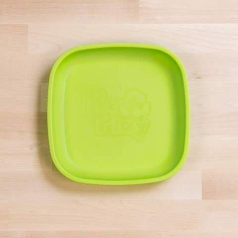 Re-Play Recycled Plastic Flat Plate in Lime Green - 18cm (Original Size)