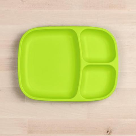 Re-Play Recycled Plastic Divided Plate in Lime Green - 25cm (Adult Size)