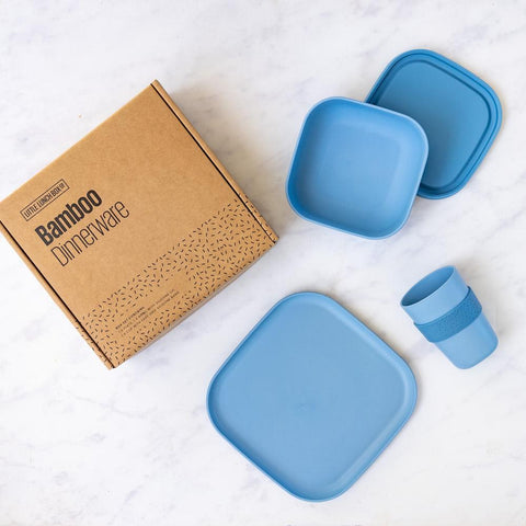 Little Lunchbox Co Bamboo Dinnerware Set in Marine Blue