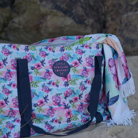 Little Renegade Company Pastel Posies Large Nappy Bag