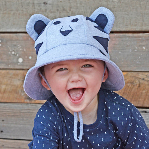 Bedhead Hat Lil' Tiger Grey Baby Bucket UPF50+ Sunhat with Chin Strap (Available in Size 3-6 Months)