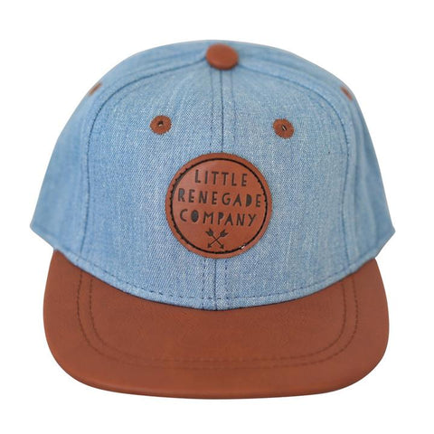Little Renegade Company Denim Snapback Cap with Tan Leather Peak (Suitable from 4 months old)