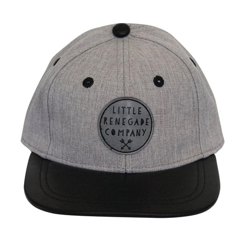 Little Renegade Company Wolf Grey Snapback Cap with Black Leather Peak (Suitable from 4 months old)