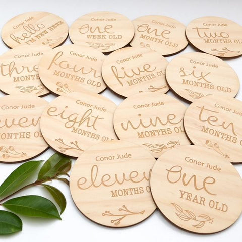 One.Chew.Three Wooden Monthly Age Milestone Plaques - Natural Foliage Design