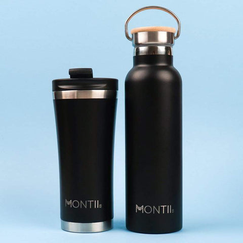 MontiiCo Original Drink Bottle in Black with Eco-Friendly Bamboo Lid
