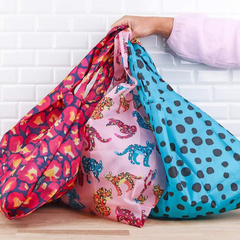 MontiiCo Shopping Bag Set of Three with Wildcat Prints