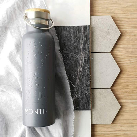 MontiiCo Original Drink Bottle in Grey with Eco-Friendly Bamboo Lid