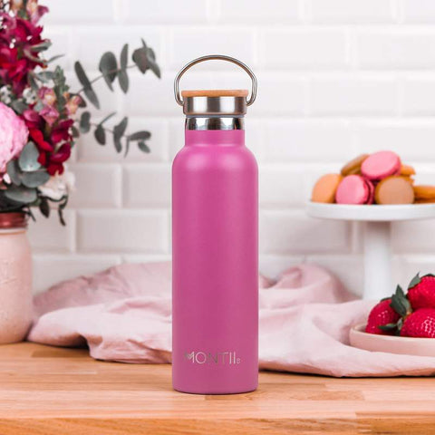 MontiiCo Original Drink Bottle in Rose Pink with Eco-Friendly Bamboo Lid