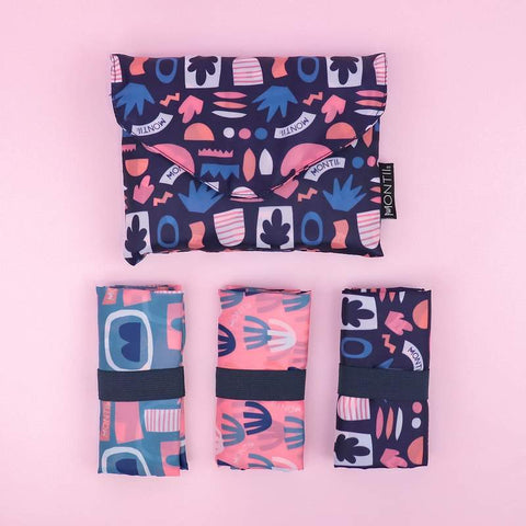MontiiCo Shopping Bag Set of Three with Bloom Graphic Prints