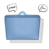 MontiiCo Pack & Snack Bags in Slate Blue & Clear (Set of Two)