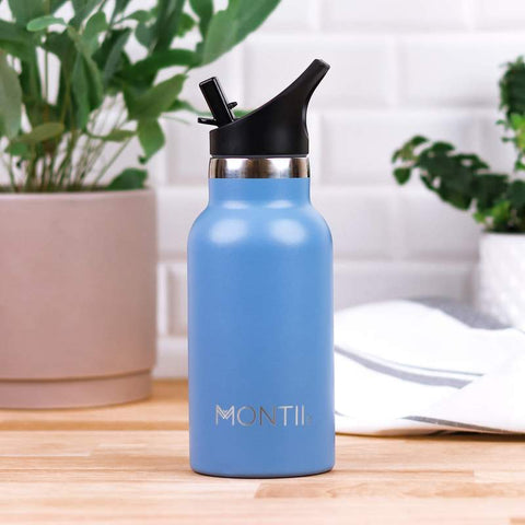 MontiiCo Mini Drink Bottle in Slate Blue with Easy Sip Lid (Mellow Range)