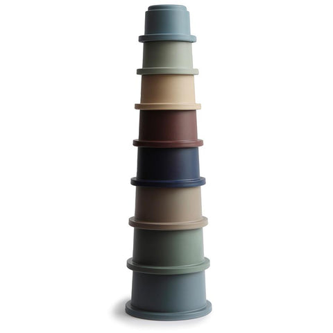 Mushie Stacking Cups (Forest Colours) - Made in Denmark