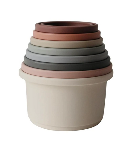 Mushie Stacking Cups (Original Colours) - Made in Denmark