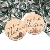 "One.Chew.Three Wooden ""My First Christmas"" Plaque - Timber Colour Print"
