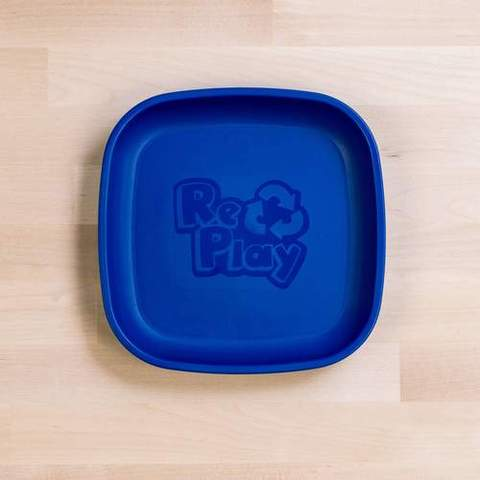 Re-Play Recycled Plastic Flat Plate in Navy Blue - 18cm (Original Size)