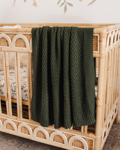Snuggle Hunny Olive Green Diamond Knit Baby Blanket