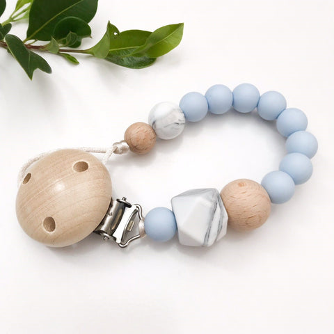 One.Chew.Three Marble Silicone Dummy (Pacifier) Holder