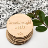 One.Chew.Three Wooden Pregnancy Milestone Plaques - Lotus Design