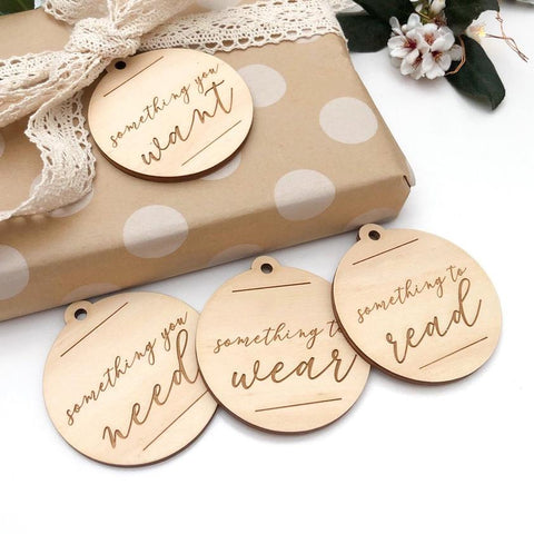 One.Chew.Three Simplicity Wooden Timber Gift Tags (Christmas Script)