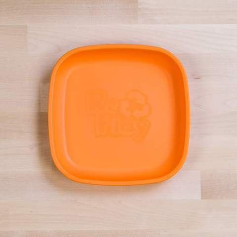 Re-Play Recycled Plastic Flat Plate in Orange - 18cm (Original Size)