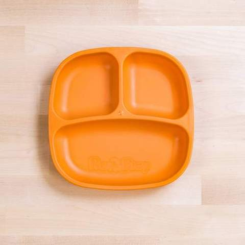 Re-Play Recycled Plastic Divided Plate in Orange - 18cm (Original Size)