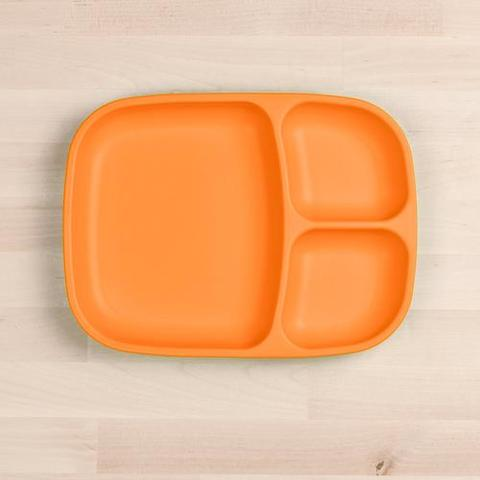 Re-Play Recycled Plastic Divided Plate in Orange - 25cm (Adult Size)
