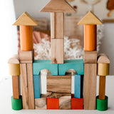 Q Toys Natural Colour Wooden Blocks (34 Pieces)