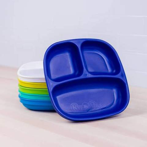 Re-Play Recycled Plastic Divided Plates in Set of Six Bold Colours - 18cm (Original Size)