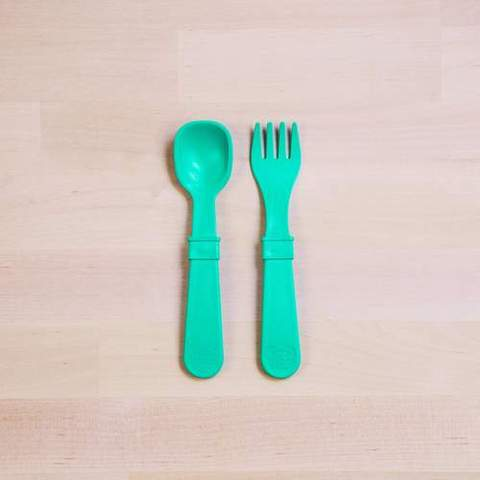 Re-Play Recycled Plastic Fork & Spoon in Aqua