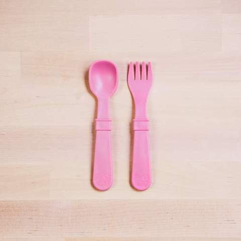 Re-Play Recycled Plastic Fork & Spoon in Baby Pink