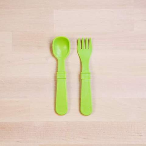Re-Play Recycled Plastic Fork & Spoon in Green