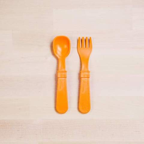 Re-Play Recycled Plastic Fork & Spoon in Orange