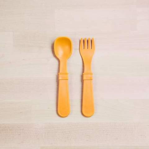 Re-Play Recycled Plastic Fork & Spoon in Sunshine Yellow