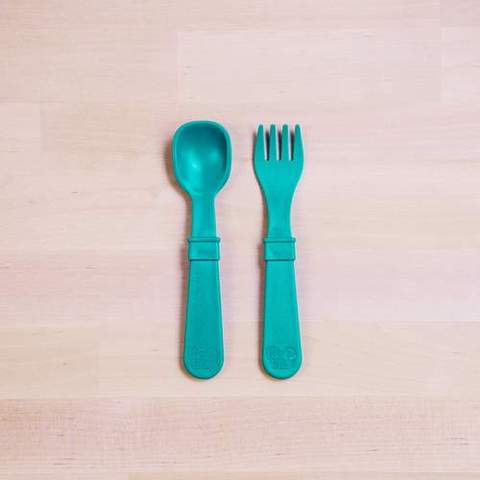 Re-Play Recycled Plastic Fork & Spoon in Teal