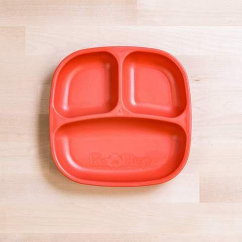 Re-Play Recycled Plastic Divided Plate in Red - 18cm (Original Size)