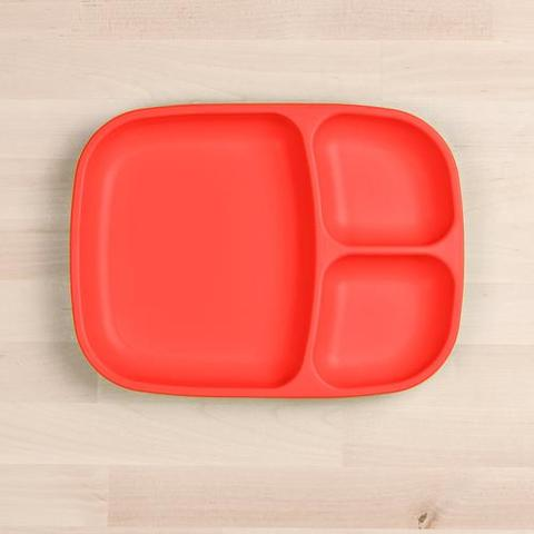 Re-Play Recycled Plastic Divided Plate in Red - 25cm (Adult Size)