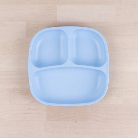 Re-Play Recycled Plastic Divided Plate in Ice Blue - 18cm (Original Size)