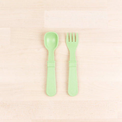 Re-Play Recycled Plastic Fork & Spoon in Leaf Green