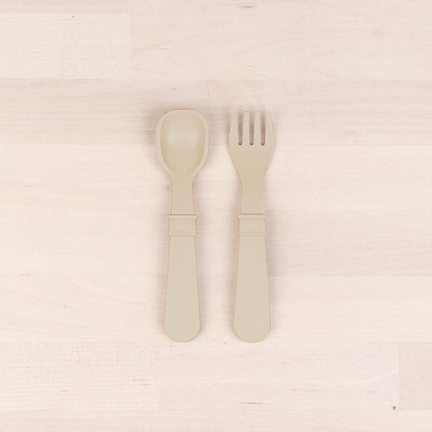 Re-Play Recycled Plastic Fork & Spoon in Sand