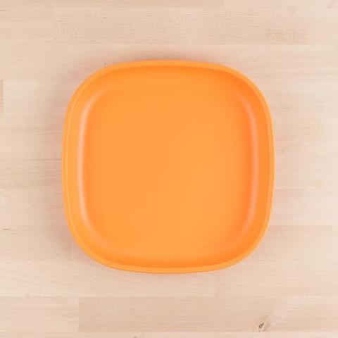 Re-Play Recycled Plastic Flat Plate in Orange - 22cm (Adult Size)