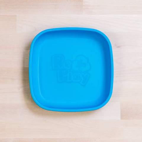 Re-Play Recycled Plastic Flat Plate in Sky Blue - 18cm (Original Size)